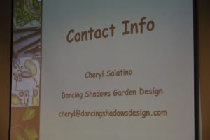 Slide showing Cheryl's contact info